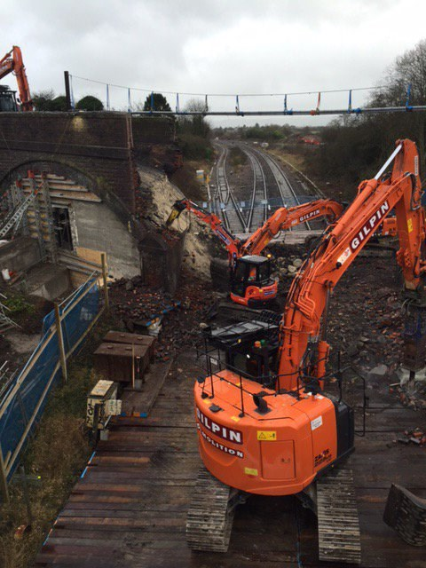 Rail passengers to benefit from biggest ever Christmas railway upgrade success: A bridge was demolished at Royal Wootton Bassett as electrification work continues