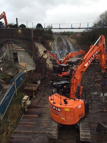 A bridge was demolished at Royal Wootton Bassett as electrification work continues