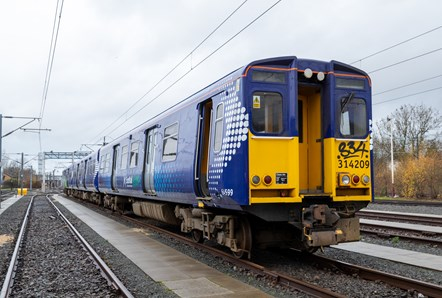 Hydrotrain 001: Exterior view of a 314 Class electric train sitting at the Scotrail Depot in Yoker, Glasgow on 14th December 2020. The train has been decommissioned and will be taken to Bo'ness where it will be converted to run on hydrogen.