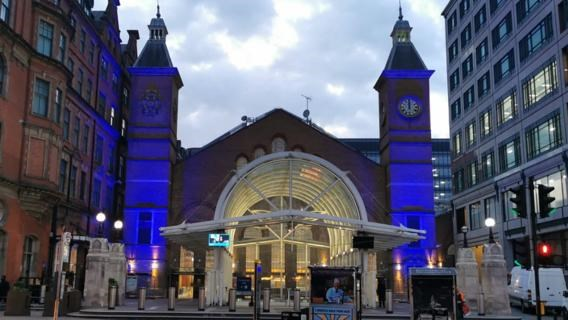 London Liverpool Street station lights up for our NHS heroes and railway family: Liverpool Street blue