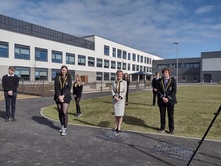 Lossie High HT Janice Simpson with pupils Cameron Bell (S5), Aimee Naldrett (S6), Faith Rowan (S2), Louise Coghill (S3), Nathan Ruck (S4) and Thomas Letch (S6)