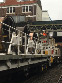 Overhead wiring train at Ilford