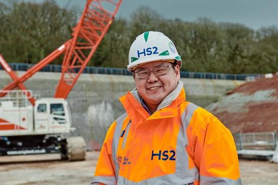 Worker at the Long Itchington Wood slurry treatment plant: Credit: HS2 Ltd