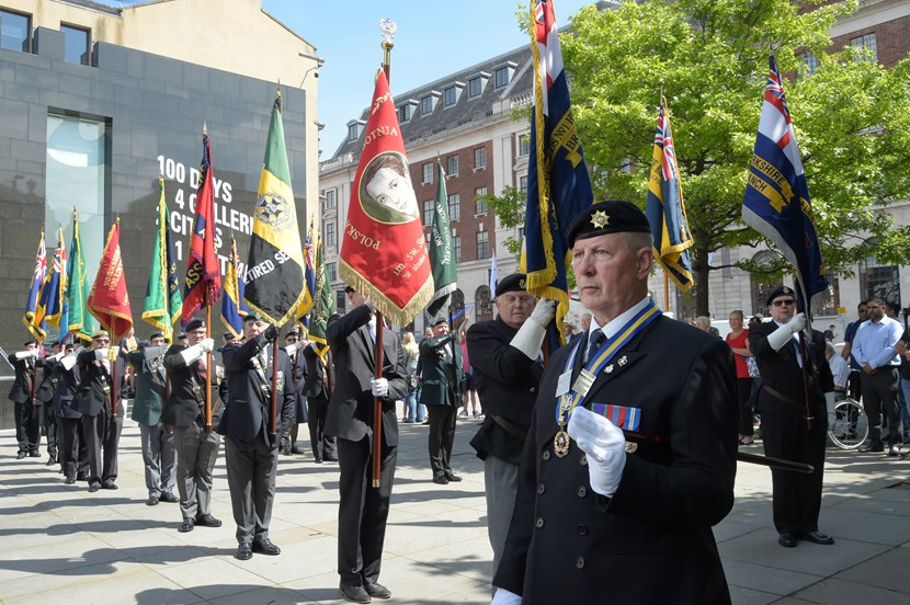 Leeds Armed Forces Day to be marked with a day of festivities and excitement: AFD flag raising standards credit Graham Fotherby