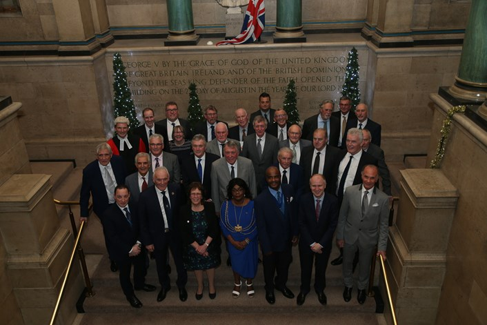 Leeds United-165042.jpg: The Leeds United squad being awarded Freedom of the City in December 2019. Norman Hunter is on the second row, furthest left.