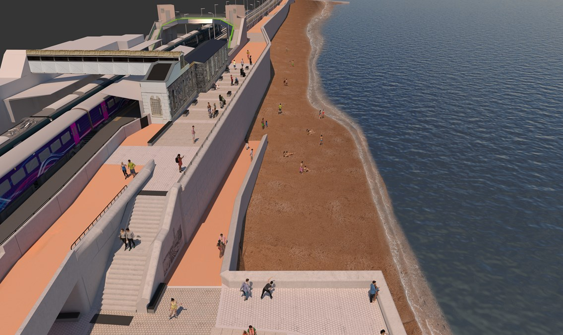 Plans unveiled for remaining section of £80m Dawlish sea wall that will protect the railway and the vital link it provides for the south west: Wall and promenade at Dawlish station