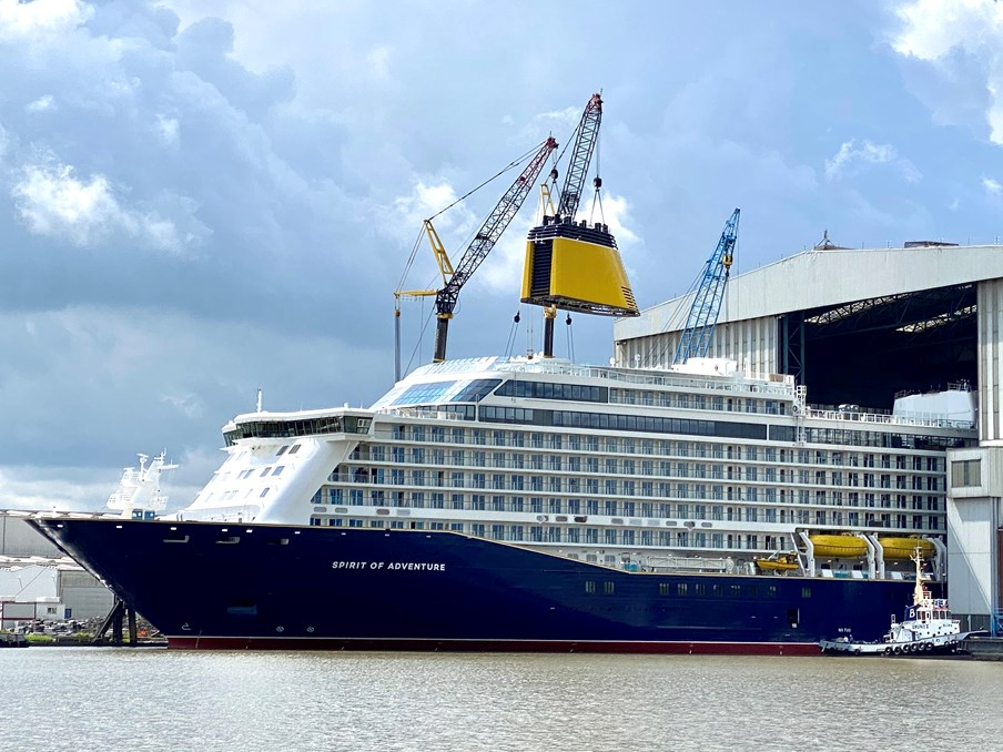 Saga's Spirit of Adventure Floats Out Ahead of Sea Trials: Spirit of Adventure float out 3