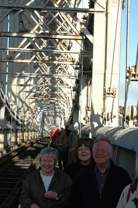 Happy faces at the special bridge walk