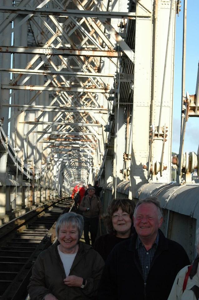 Happy faces at the special bridge walk: RAB 150th year
