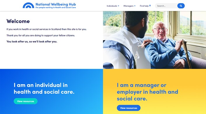 New wellbeing hub for people working in health and social care: Wellbeing hub (image)