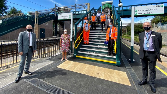 Multi-million-pound accessibility upgrade complete at Tring station: Chris Heaton-Harris MP (L), James Dean, West Coast South route director Network Rail (R) at opening of Tring station's Access for All upgrade