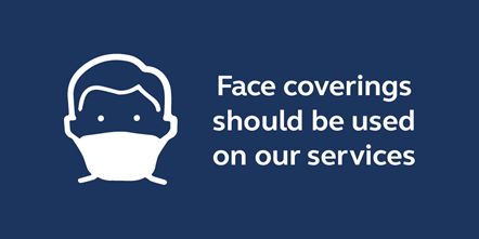 Face covering advice: Graphic used to advice people about the need to wear face coverings