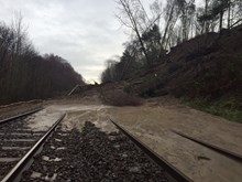 The landslip at Farnley Haugh which is affecting the line between Carlisle and Newcastle