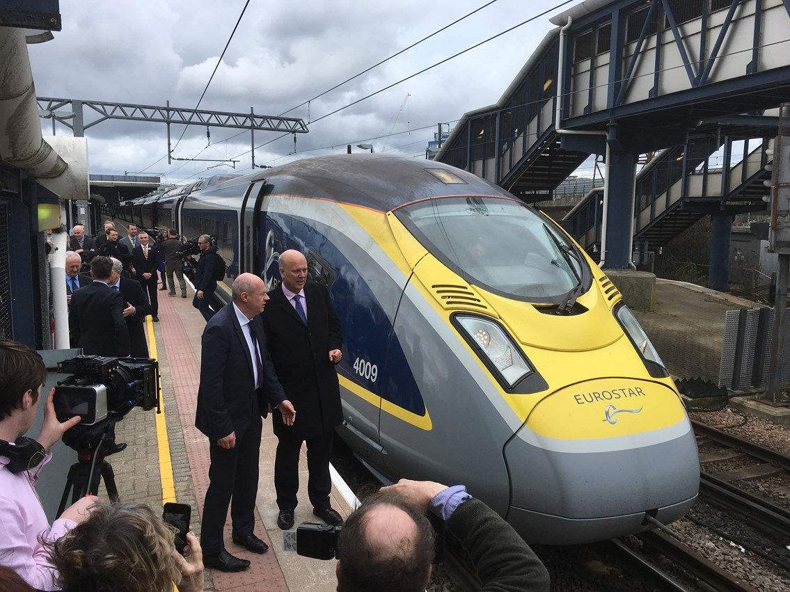 Ashford station's international future looks bright as first modern high-speed train calls en-route to Paris: Ashford Spurs opening