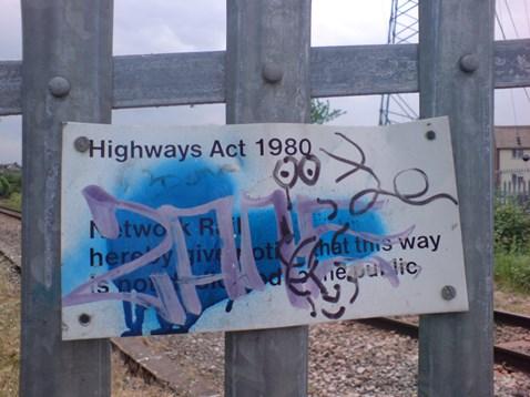 Graffiti on the railway in Trowbridge