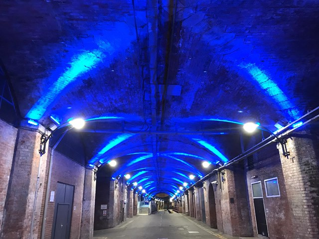 Network Rail turns stations on the East Coast Main Line blue to support the NHS: Leeds station dark arches turn blue