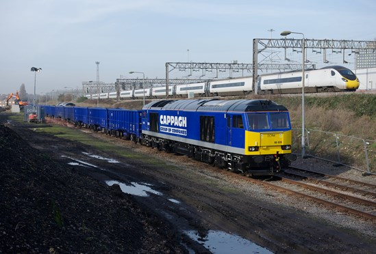 Cappagh Group of Companies: 60028, Class 60 in front of Cappagh Group Rail Freight Terminal under construction adjacent to the West Coast Main Line near Wembley, London (Credit - Cappagh Group of Companies)