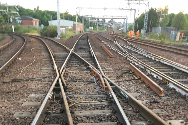 Train service restored on the Anniesland branch line following engineering works: 5 July New points in place and line re-opened