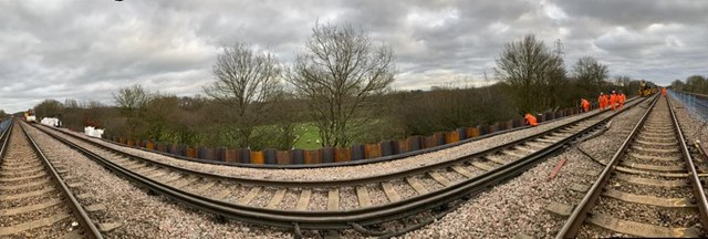 Residents and passengers thanked as embankment works at Salfords which affected weekend travel on the Brighton Main Line is completed: Embankment at Salfords