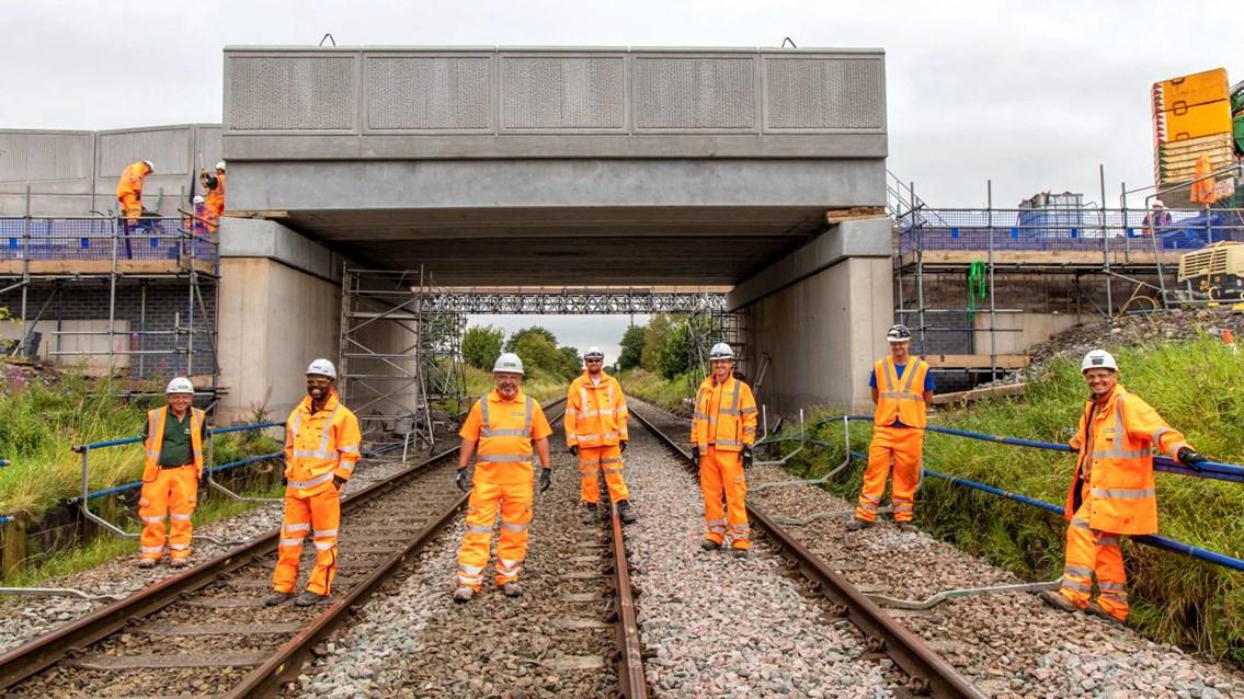 Railway reopens to passengers after successful Crewe bridge reconstruction: Boulderstones bridge upgrade team at end of railway closure in Crewe