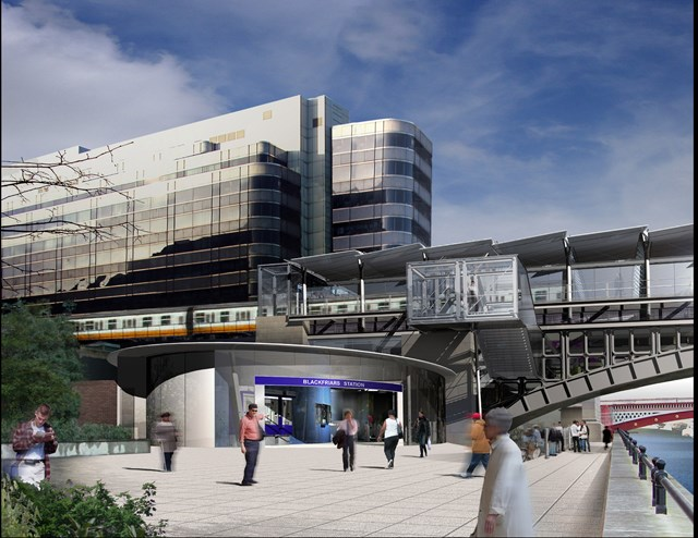 New Blackfriars station: Artist's impression of new station building for tHameslink, Blackfriars (part of the Thameslink Programme)