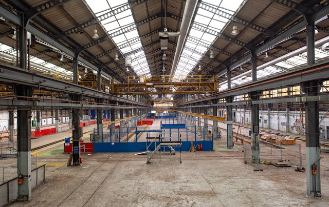 Chart Leacon panorama: Inside Chart Leacon depot showing one of the cranes used to lift trains between tracks