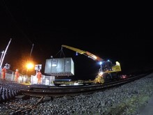 Crossing keepers cabin being removed at Tyn y Morfa Level Crossing