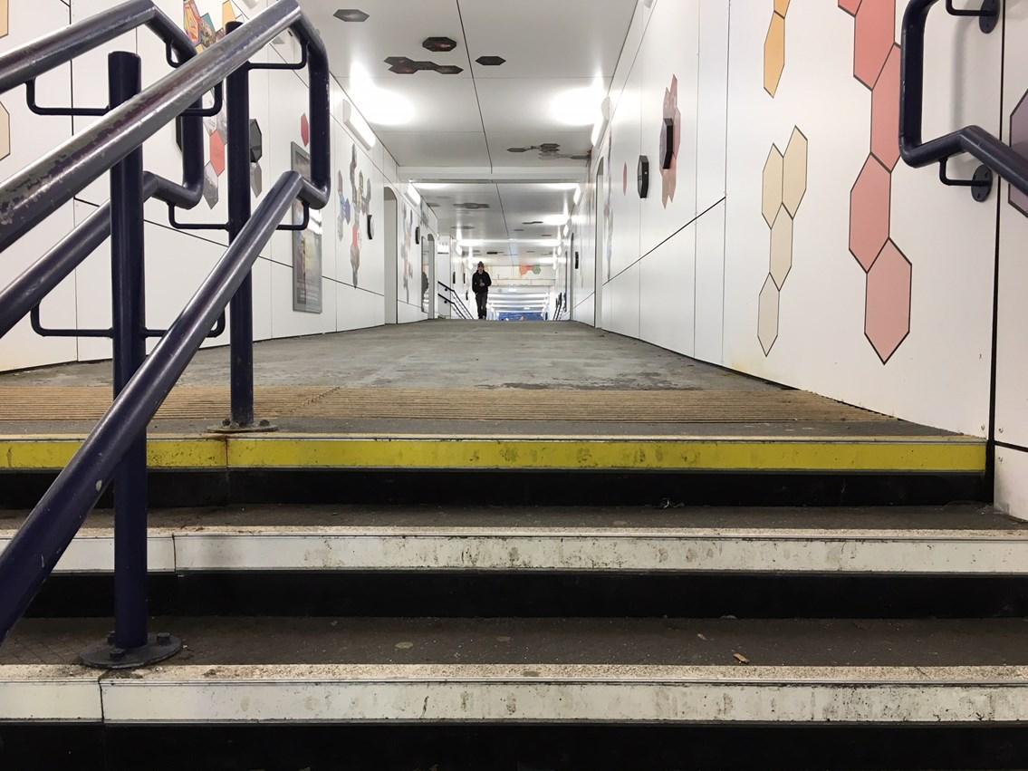 Kilmarnock Station stairs and walkway