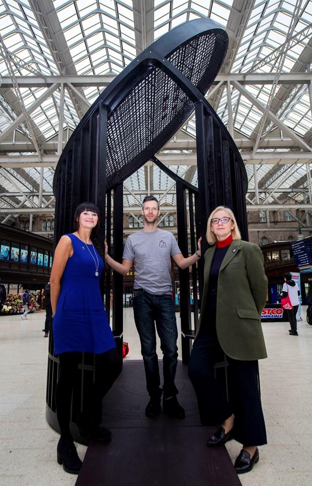Mackintosh Light Pavilion - Susan Holden, Scott Jarvie and Jane Rowlands, senior museums manager for Glasgow Life