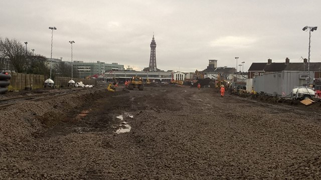 Blackpool  North station approach all old track removed