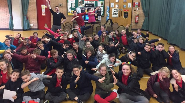 Network Rail delivers important safety lessons to Torfaen school children: Llanyrafon Primary school at a Crucial Crew session in Cwmbran on Tuesday 7 March 2017