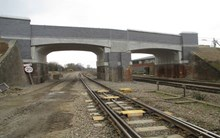 Line side view of the new bridge at Templars Way