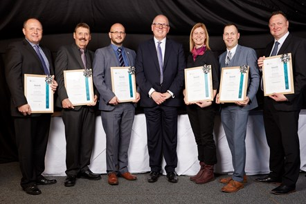 College of Policing Awards 2018 winners: L-R: David Harrison, Derbyshire; Richard Oaten, Avon and Somerset; David Thomason, Cheshire; Mike Cunningham, College; Helen Foster, Met; Ian Ashton, Lancashire; Nicholas Mills, West Midlands.