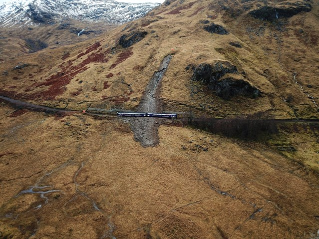 Fort William-Mallaig landslide recovery update: Glenfinnan drone 1