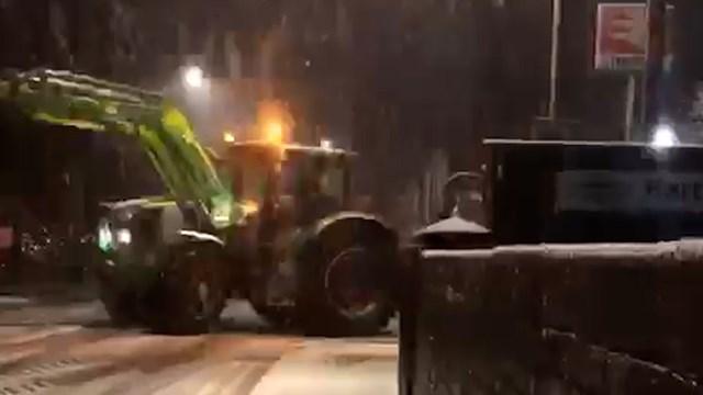 Tractor dumping at Hartford station