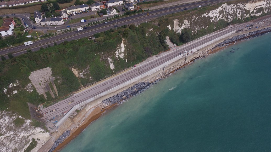 Dover to Folkestone railway to reopen on Monday, 5 September, three months ahead of schedule.: DJI 0038