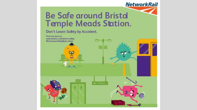 New station safety campaign launched at Bristol Temple Meads and Reading stations: An example of one of the campaign graphics in Bristol Temple Meads