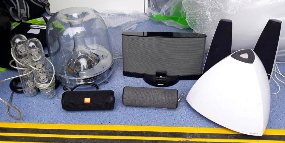 Speaks & subwoofers sound equipment: A range of sound equipment such as speakers and subwoofers were seized due to continued loud levels of noise.