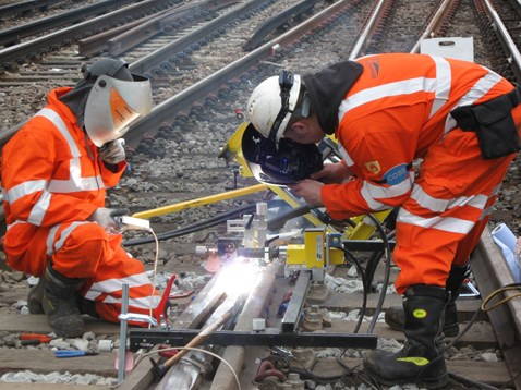 Engineers working on the railway