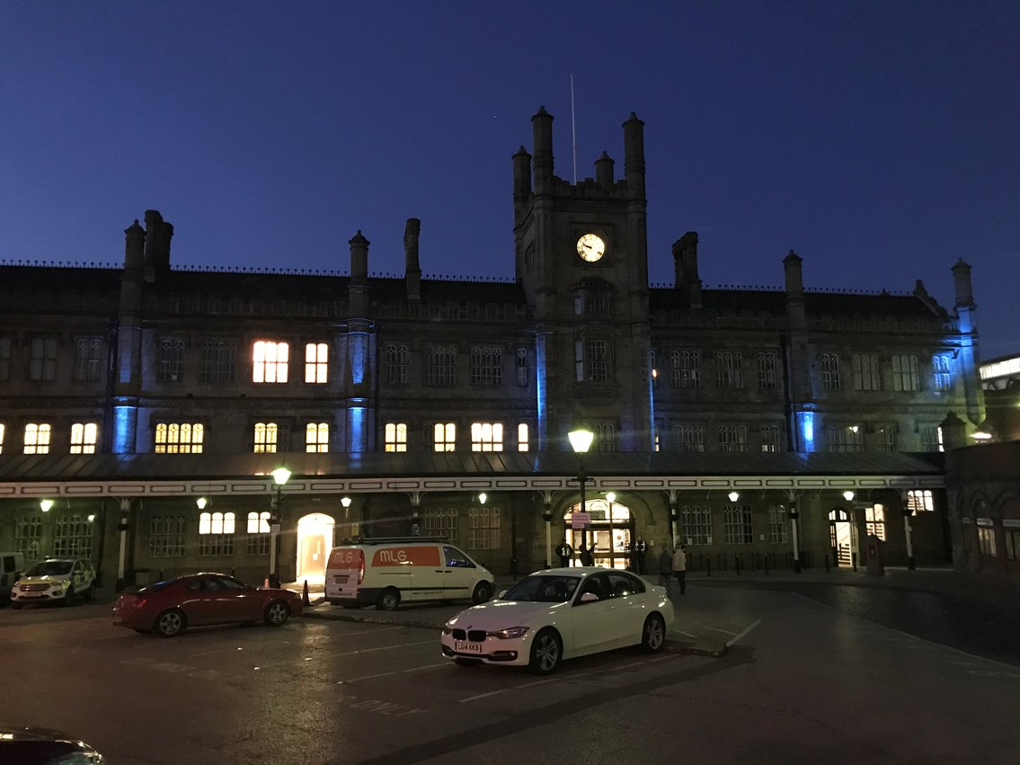 Shrewsbury railway station lit up blue for NHS and all critical workers: Shrewsbury Station Blue 1