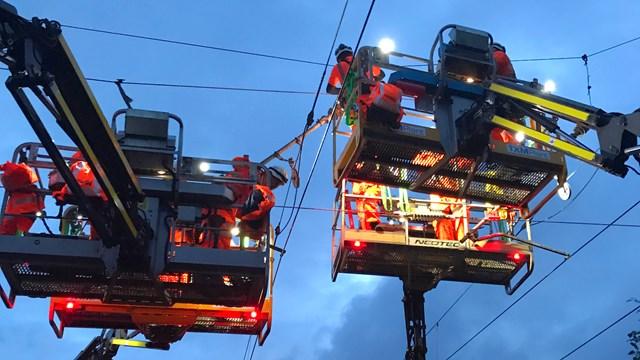 25,000 volt overhead electric line overhaul for better passenger journeys: OLE work Preston Sat 1 August 2020 2
