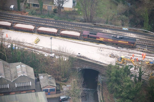 Lewisham aerial (2): The derailment site pictured on Thursday from the air