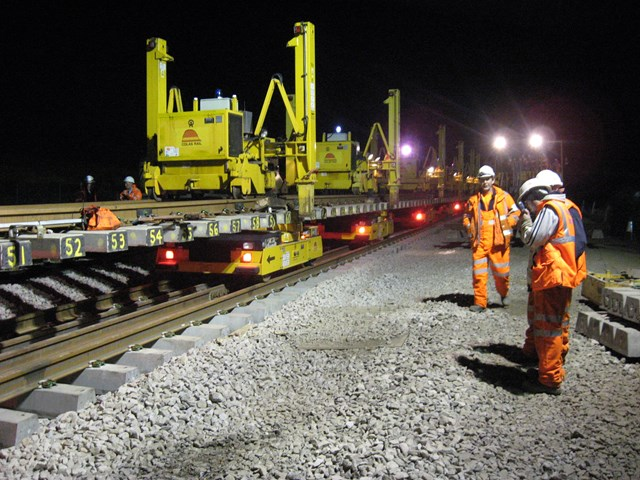 Night work new 3rd line Kettering to Harrowden: Night work new 3rd line Kettering to Harrowden