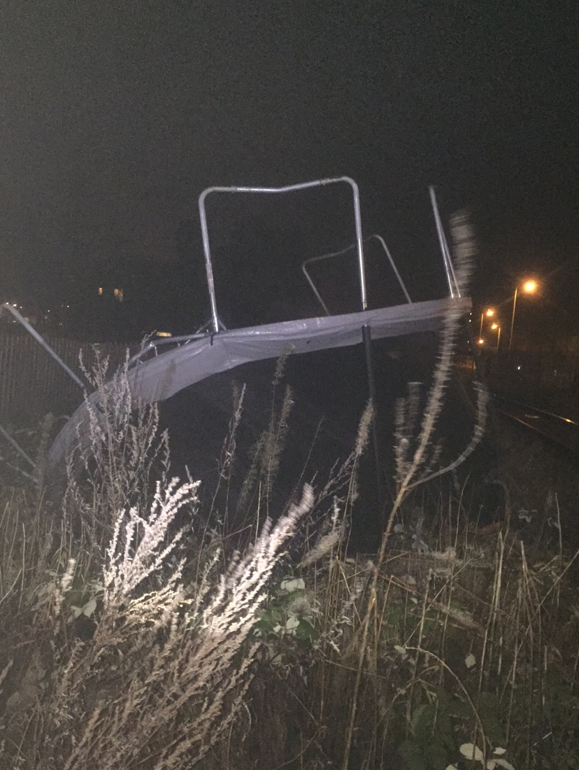 'Flying' trampolines trigger plea to line-side residents to secure garden items: trampoline blown on to the railway at Aylesbury-2