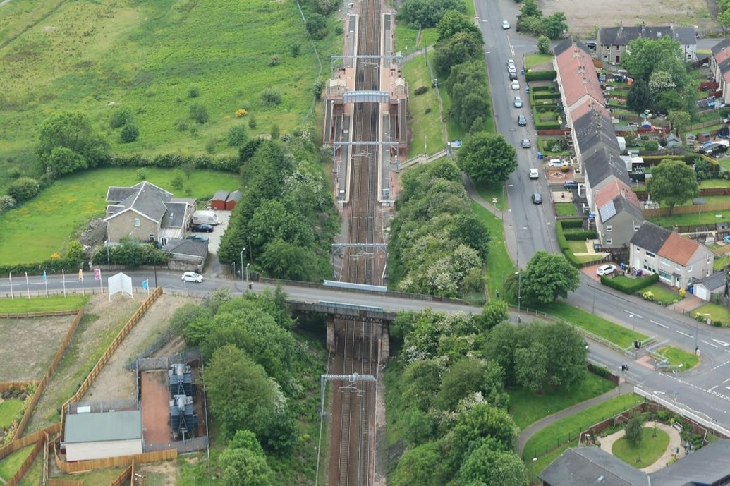 Network Rail invests £4m to upgrade Baillieston railway bridge: MuirheadRoad Baillieston Aerial