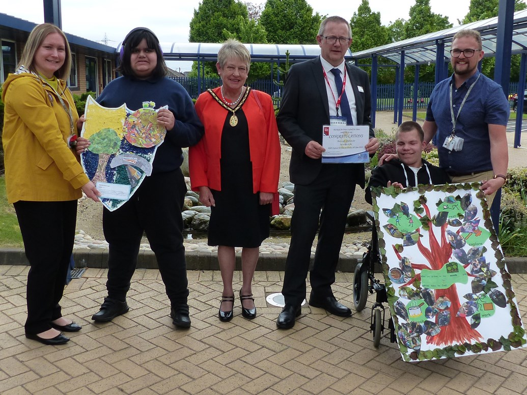Network Rail volunteers attend official opening of forest school in Oldbury: L-R Presentation of prizes. Sarah Lockitt - teacher, Joshua, Susan Eaves - Deputy Mayor of Sandwell, Allun Edge - Network Rail, Bradley, Kevin Hurcombe – class teacher