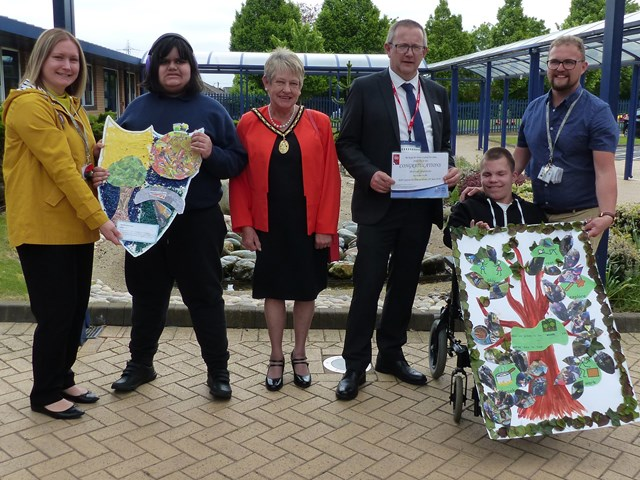 L-R Presentation of prizes. Sarah Lockitt - teacher, Joshua, Susan Eaves - Deputy Mayor of Sandwell, Allun Edge - Network Rail, Bradley, Kevin Hurcombe – class teacher