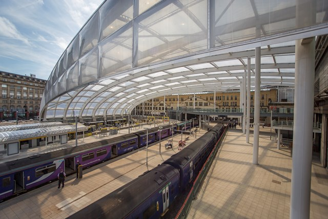 Manchester Victoria and Salford Central stations reopened following railway upgrade: Man Vic station Platform 1 & 2