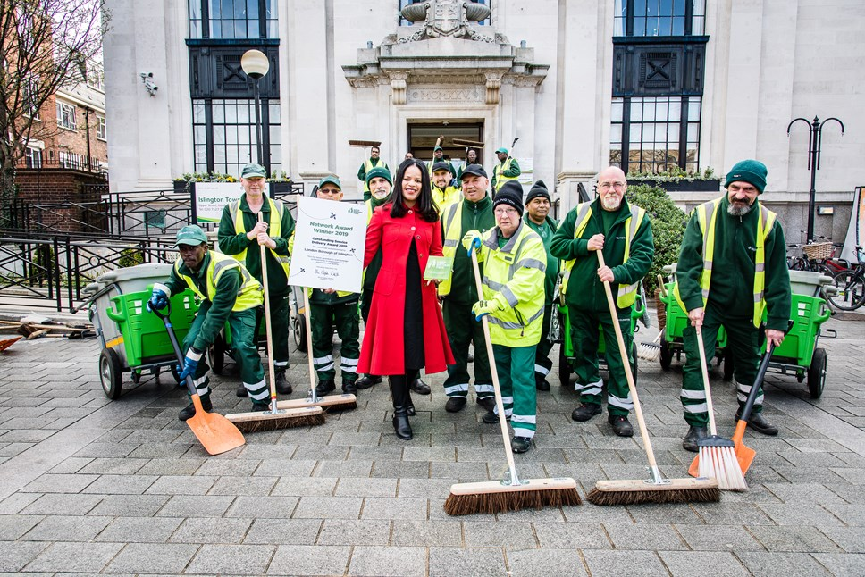 Islington Council proposes 'in-house by default' policy to deliver quality and value: Islington's street sweepers celebrate Islington's Keep Britain Tidy award for Outstanding Service Delivery, with Cllr Claudia Webbe, executive member for environment and transport