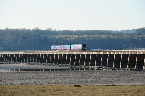Train passing over Arnside Viaduct